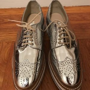 Zara silver wing tips